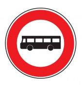Panneau interdit au véhicule transport commun B9f - Dimensions : de 450 à 1250 mm - Norme CE et NF - Type B