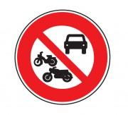 Panneau interdit aux véhicules à moteur B7b - Dimensions : de 450 à 1250 mm - Norme CE et NF - Type B