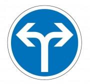 Panneau obligation aller à droite ou à gauche B21e - Dimensions : de 450 à 1250 mm - Norme CE et NF - Type B