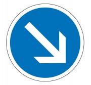 Panneau obligation contourner à droite B21a1 - Dimensions : de 450 à 1250 mm - Norme CE et NF - Type B