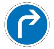 Panneau obligation de tourner à droite B21c1 - Dimensions : de 450 à 1250 mm - Norme CE et NF - Type B