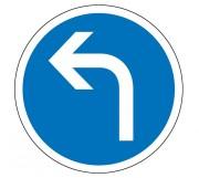 Panneau obligation de tourner à gauche B21c2 - Dimensions : de 450 à 1250 mm - Norme CE et NF - Type B