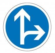 Panneau obligation tout droit ou à droite B21d1 - Dimensions : de 450 à 1250 mm - Norme CE et NF - Type B
