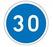 Panneau obligation vitesse minimale 30 km/h B25 - Dimensions : de 450 à 1250 mm - Norme CE et NF - Type B