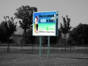 Panneau publicitaire portatif sur pied - Longeur des pieds : 6 ou 7 m