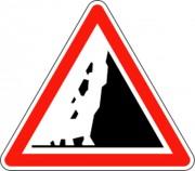 Panneau risque chutes de pierres A19 - Dimensions : de 500 à 1500 mm - Norme CE et NF - Type A
