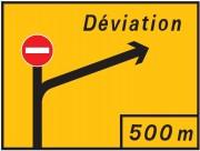 Panneau temporaire présignalisation de direction KD42 - Dim : 1600 x 1200 à 3000 x 2400 mm-Norme NF - Type KD42