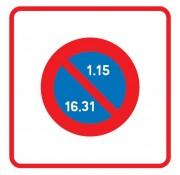 Panneau zone stationnement unilatéral semi mensuel B6b2 - Dimensions (mm) : 500 - 700 - Norme CE et NF - Type B