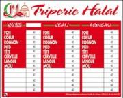 Panneaux d'affichage prix triperie hallal