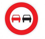 Panneau de signalisation temporaire d'interdiction de dépasser BK - Dimensions : de 650 à 1250 mm - Norme NF - Type BK