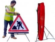 Panneaux de signalisation travaux - 3 modèles disponibles : Travaux - Rétréci - Directionnel