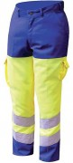 Pantalon bicolore fluorescent - Pantalon Jaune/Bleu en poyester et coton