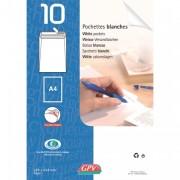 Paquet de 10 pochettes velin blanc fond gris 90g auto-adhésives 162 x 229mm 6288 - GPV