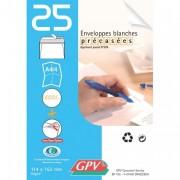 Paquet de 25 enveloppes blanches auto-adhésives 90 grammes format 114x162mm référence 21301 - GPV