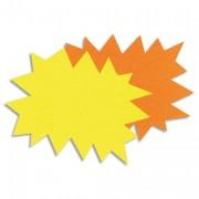Paquet de 50 étiquettes pour point de vente en carton fluo jaune/orange forme éclaté 12x16cm - apli_agipa