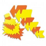 Paquet de 50 étiquettes pour point de vente en carton fluo jaune/orange forme éclaté 8 x 12 cm - apli_agipa