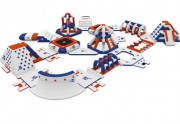 Parc aqualudique gonflable - Dimensions : L 40 m x l 24 m