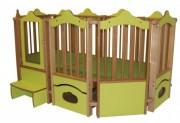 Parc en bois pour bébé - Dimensions (L x P x H) cm : 240 x 155 x 125