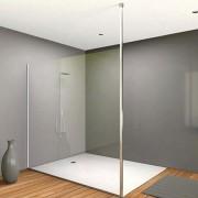 Paroi de douche fixe - Avec poteau du sol au plafond