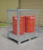 Paroi grillagée pour bac de rétention - En acier galvanisé - Capacité : 2 ou 4 fûts