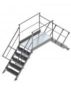 Passerelle de franchissement toiture en aluminium - Passerelle saut de loup - Charge admissible plateforme: 200 kg /m2