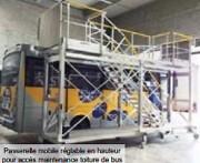 Passerelle mobile maintenance toiture bus - Plate forme mobile réglable en hauteur