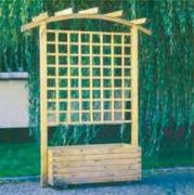 Pergola avec jardinière - En bois avec treille - 2 dimensions disponibles