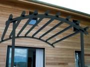 Pergola contre façade en pin traité - Dimensions : de  L 320 x P 380 à L 560 x P 380 cm