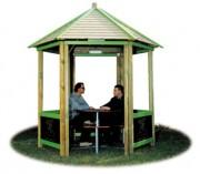 Pergola de jardin avec banc - Dimensions (cm) : 307 x 270 x 325