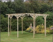 Pergola de jardin circulaire - Hauteur 245cm x diamètre 390cm (extérieur des poteaux)