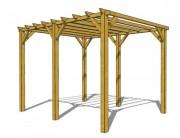 Pergola de jardin en bois - Dimensions (mm) : 3000 x 3000 x 2720 - 3000 x 4000 x 2720