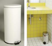 Petites poubelles métalliques à pédale - Capacité : 5,6 L - Dim : Ø 25,5 x 33,5 cm - Finition : Acier inoxydable