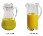 Pichet à jus acrylique - 2 modèles au choix selon la contenance: 2 ou 3 Litres