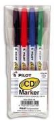 PILOT Pochette de 4 marqueurs Spécial CD/ DVD assortis 4011848 - Pilot