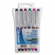 PILOT Pochette de 6 stylos à plume jetables 6 couleurs d'encre V-PEN - Pilot
