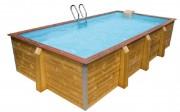 Piscine en bois rectangulaire - Dimensions extérieures (L x l x H) m : 6,50 x 3,40 x 1,33