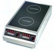 Plaque à induction inox double foyer - Dimension (L x P x H) mm : 400 x 735 x 198 - Modèle double foyer