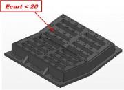 Plaque d'égout PMR concave D400 - Classe : D 400 - PMR - Dimensions grille (mm) : 400 à 700