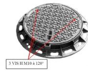 Plaque d'égoût ronde à surface antidérapante 850 mm - Classe : D 400 - Diamètre (mm) : 850
