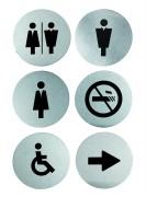 Plaque de porte en inox - Inox - Lot 6 pictogrammes différents