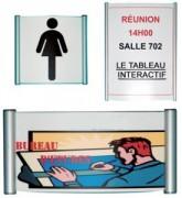 Plaque de porte Personnalisable - 5 tailles - Aluminium - Plexiglas de maintienantireflets