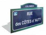Plaque de rue avec fronton - Dimensions (mm) : 450 x 250 - 500 x 300