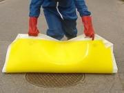 Plaque obturation egout - En gel de polyuréthane - Avec poignées - Forme : carrée, ronde ou rectangulaire