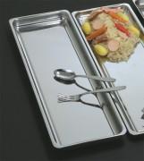 Plat rectangulaire pour vitrine - 4 modèles - Longueurs : 44 ou 55 cm - Poids : 1.05 à 1.18 - Inox 18%