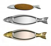 Plateau en forme de poisson - Dimension : 94 x 26,5 cm - Poids : 1.19 ou 1.35 kg - Inox 18%