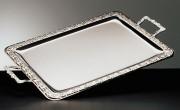 Plateau rectangulaire avec anses inox 18% - Poids: 1,55 kg - Dimensions: 60x36 cm