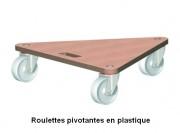 Plateau roulant triangulaire en contreplaqué - Capacité de charge : 200 - 300 kg