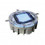 Plot routier solaire coque aluminium - Dimensions : ø 126 x H.60 mm -  3 LED clignotantes - Coloris : blanches ou bleues