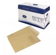 Pochette kraft blond autocollante avec fenêtre - Format (mm) : 229 x 324 (C4) - Fenêtre : 50 x 110 mm