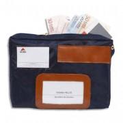 Pochette navette de caisse bleue en PVC à soufflets dimensions : 27x18,5x4cm - Alba